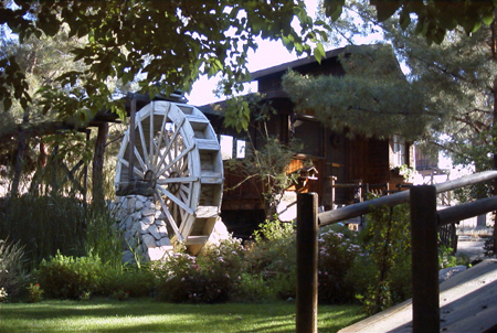 The pond paddlewheel and visitor cottage